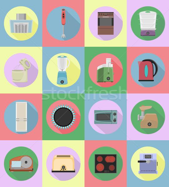 household appliances for kitchen flat icons vector illustration Stock photo © konturvid