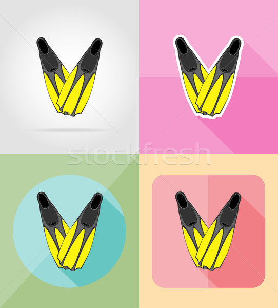 flippers for diving flat icons vector illustration Stock photo © konturvid