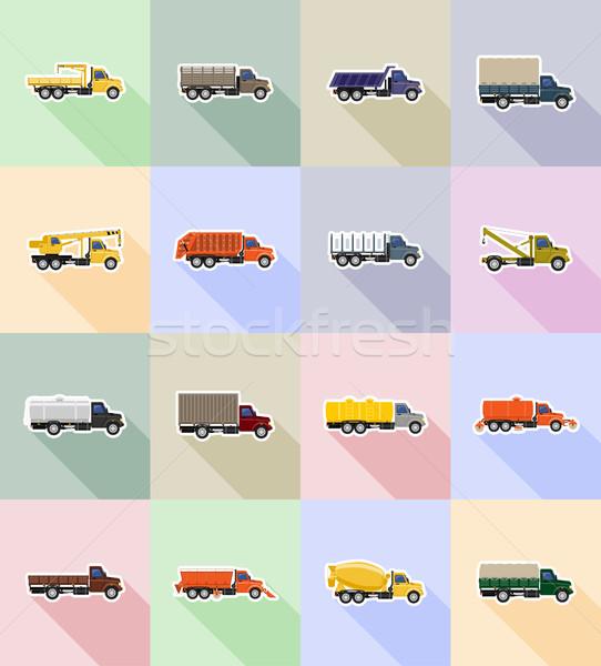 ストックフォト: トラック · アイコン · 孤立した · トラフィック · 白 · エンジン