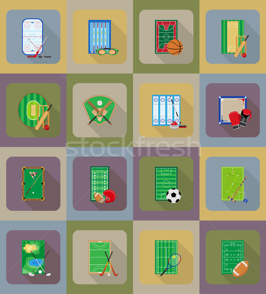 Stock photo: ccourt playground stadium and field for sports games flat icons