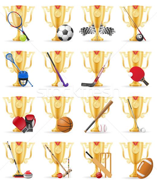 cups winner sports gold stock vector illustration Stock photo © konturvid