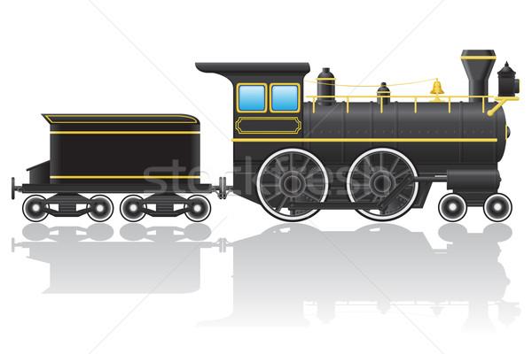 Starych retro lokomotywa odizolowany biały budowy Zdjęcia stock © konturvid