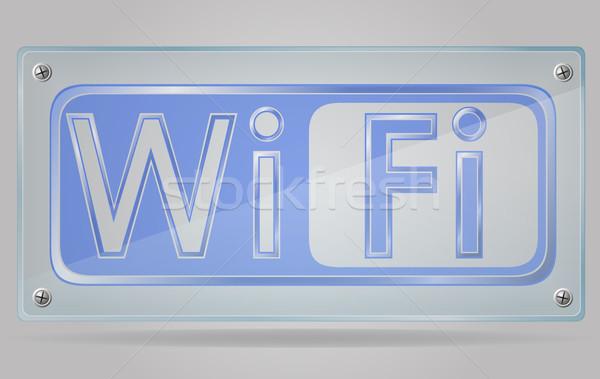 transparent sign wi fi on the plate vector illustration Stock photo © konturvid
