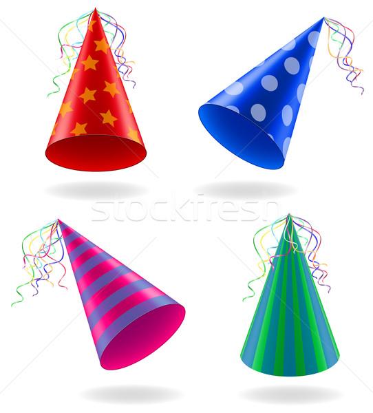 set icons caps for birthday celebrations vector illustration Stock photo © konturvid