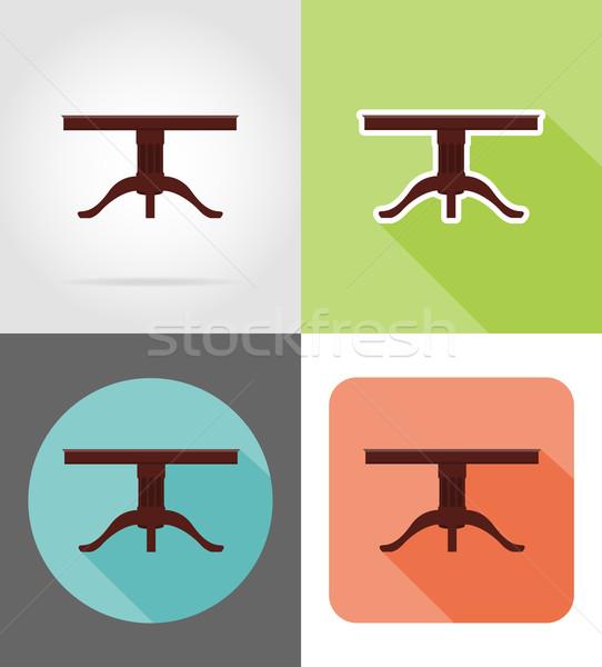 table furniture set flat icons vector illustration Stock photo © konturvid