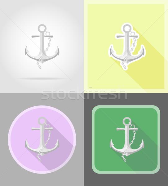 Ancla iconos aislado mar fondo seguridad Foto stock © konturvid