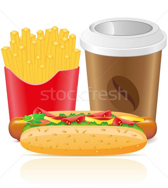 хот-дог фри картофеля бумаги Кубок кофе Сток-фото © konturvid