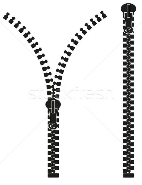 Cipzár sziluett izolált fehér divat terv Stock fotó © konturvid