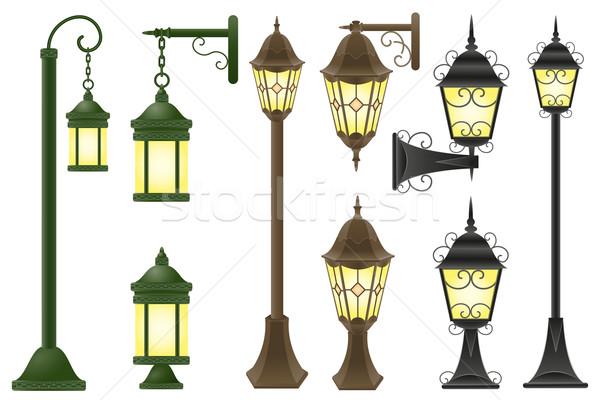 set streetlight vector illustration Stock photo © konturvid