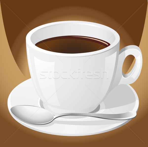 Kubek kawy łyżka projektu Kafejka kolor Zdjęcia stock © konturvid