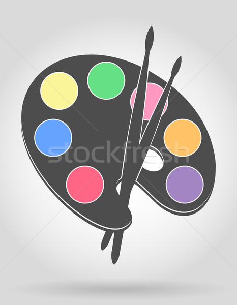 icon palette for paints and brush vector illustration Stock photo © konturvid