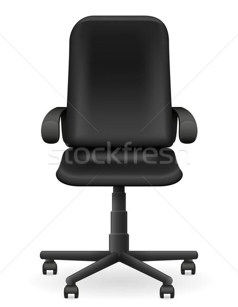Fekete iroda fotel bútor izolált fehér Stock fotó © konturvid