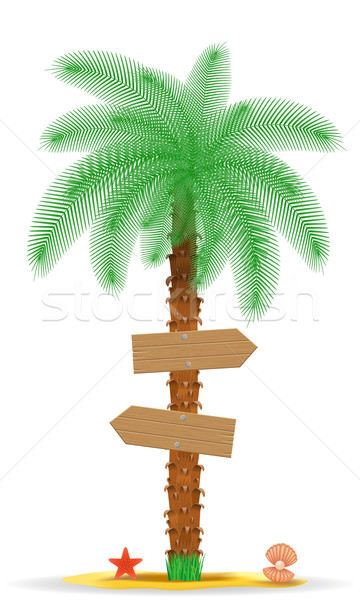 palm tree with a sign vector illustration Stock photo © konturvid
