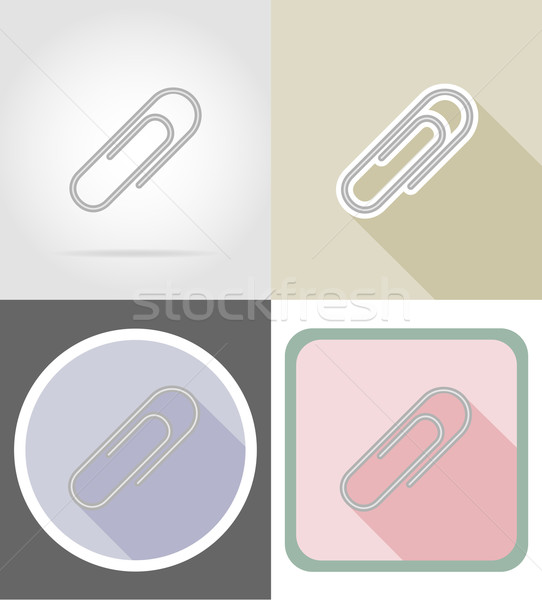 clip stationery equipment set flat icons vector illustration Stock photo © konturvid