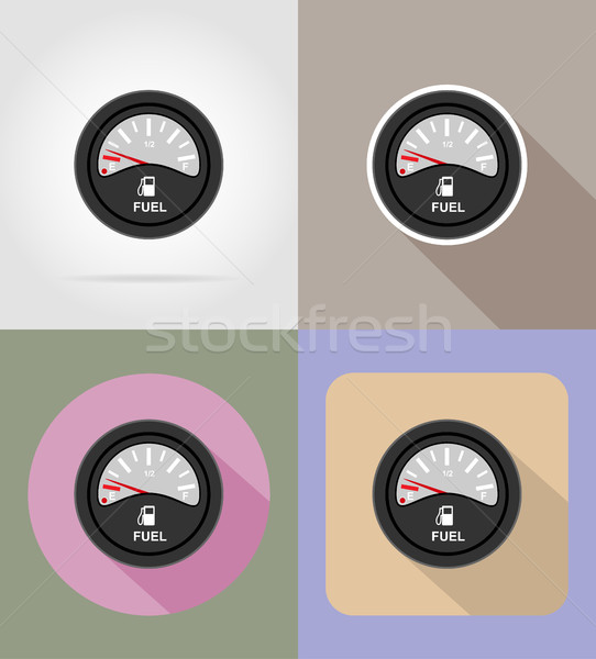 fuel level indicator flat icons vector illustration Stock photo © konturvid