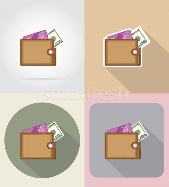 кошелька иконки изолированный бизнеса моде знак Сток-фото © konturvid