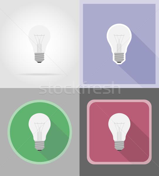 Photo stock: Ampoule · icônes · isolé · cerveau · énergie · électricité