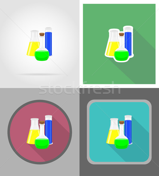 glass test tube with color liquid flat icons vector illustration Stock photo © konturvid