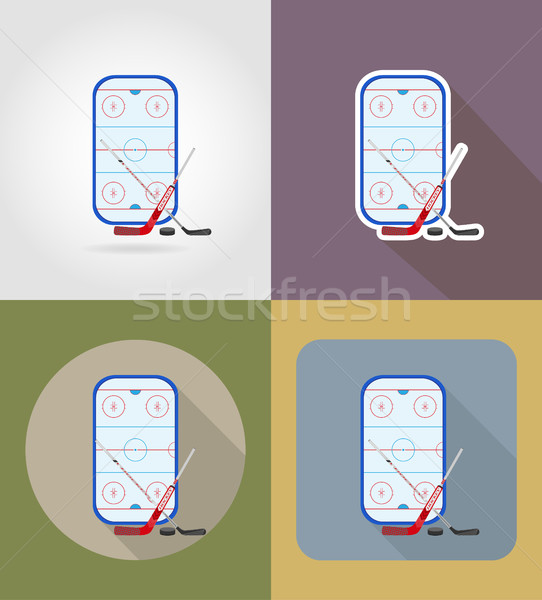 hockey stadium flat icons vector illustration Stock photo © konturvid