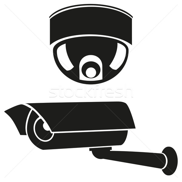 black and white icons of surveillance cameras Stock photo © konturvid