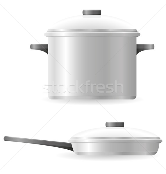 pots and pans tableware vector illustration Stock photo © konturvid