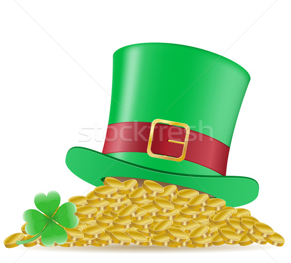 hat clover and coins St. Patrick`s day vector illustration Stock photo © konturvid