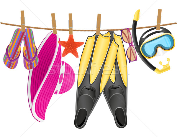 beach accessories hanging on a rope with clothespin vector illus Stock photo © konturvid