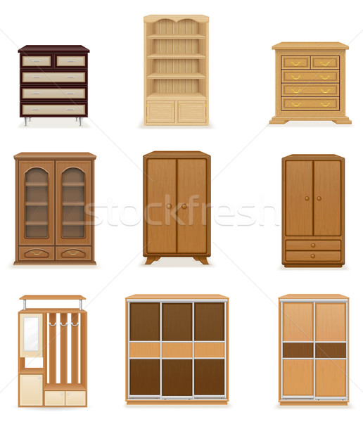 set icons furniture wardrobe cupboard and commode vector illustr Stock photo © konturvid