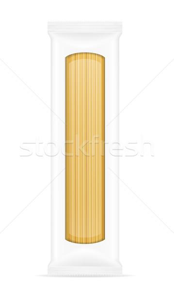 Pasta verpakking geïsoleerd witte voedsel vak Stockfoto © konturvid