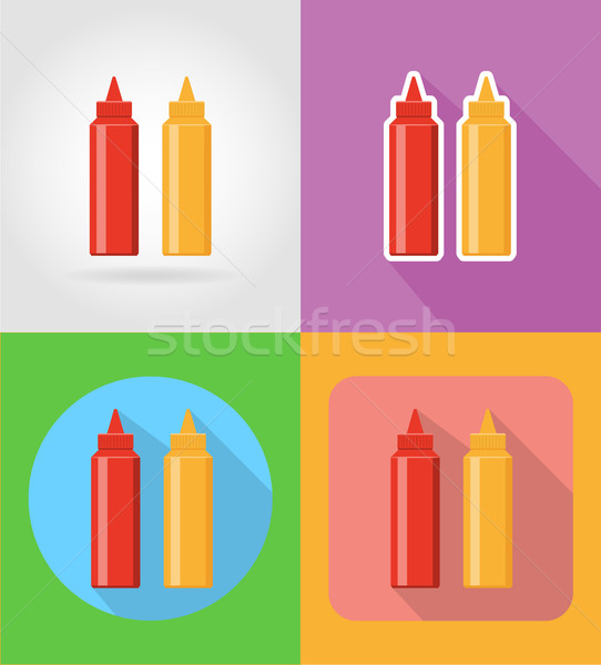 ketchup and mustard fast food flat icons with the shadow vector  Stock photo © konturvid