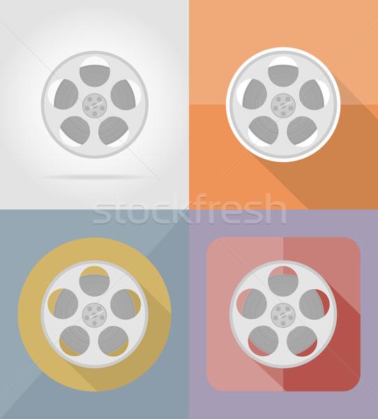 Foto stock: Filme · filme · ícones · isolado · fundo · arte