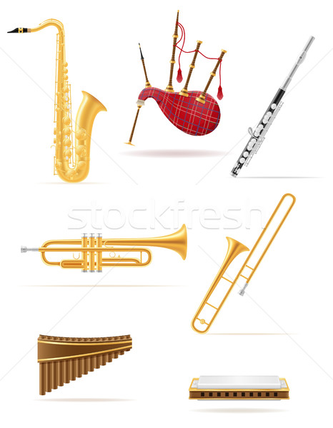 wind musical instruments set icons stock vector illustration Stock photo © konturvid