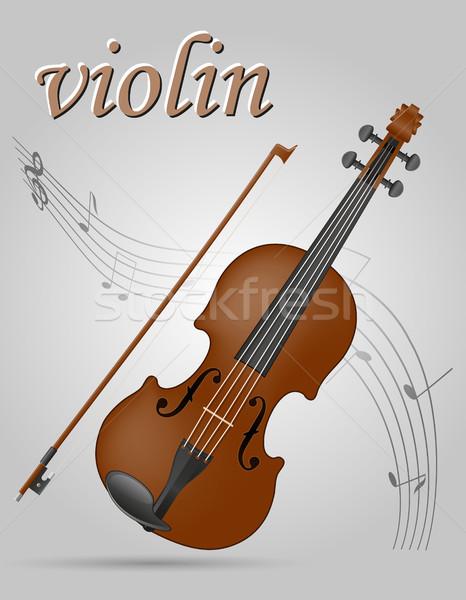 Hangszerek stock hegedű izolált szürke művészet Stock fotó © konturvid