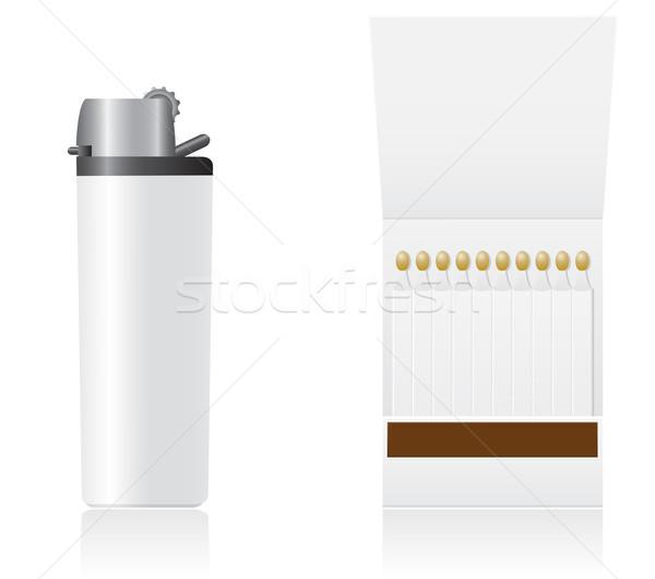 Conjunto branco isqueiro fósforos isolado negócio Foto stock © konturvid