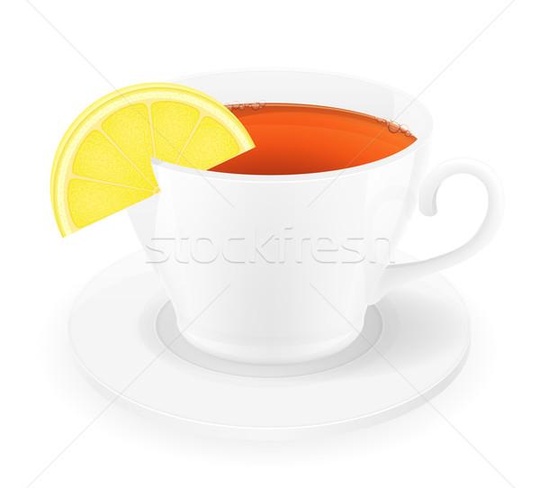 Porcelana kubek herbaty cytryny odizolowany biały Zdjęcia stock © konturvid