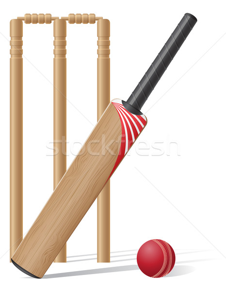 set equipment for cricket vector illustration Stock photo © konturvid
