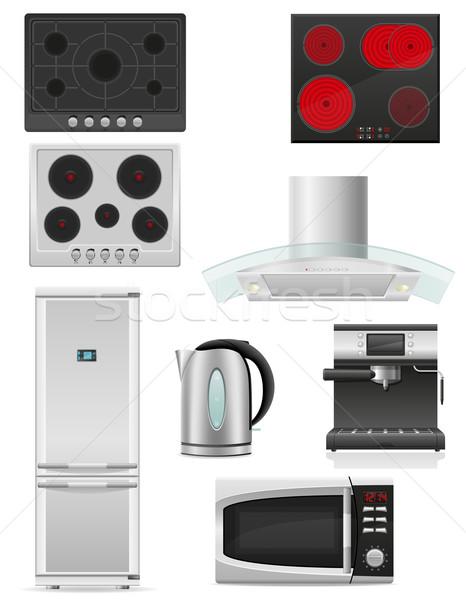Ayarlamak mutfak aletleri yalıtılmış beyaz ev kahve Stok fotoğraf © konturvid