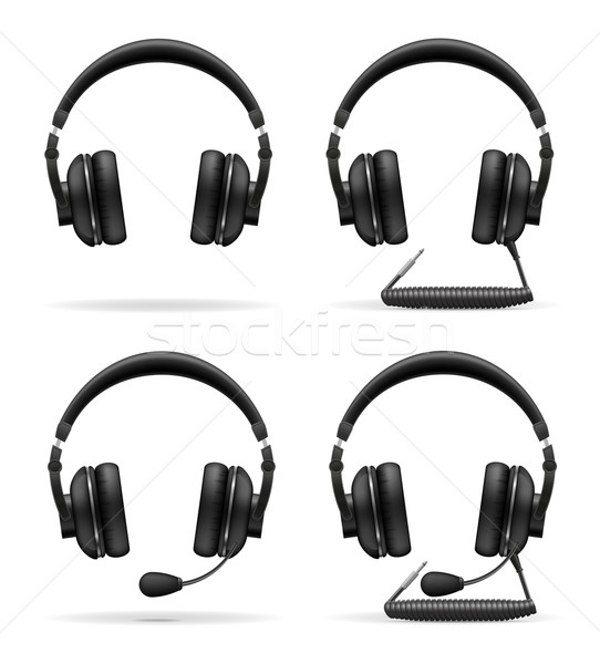 set icons acoustic headphones vector illustration Stock photo © konturvid