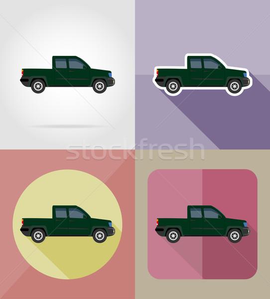 car transport pick-up flat icons vector illustration Stock photo © konturvid