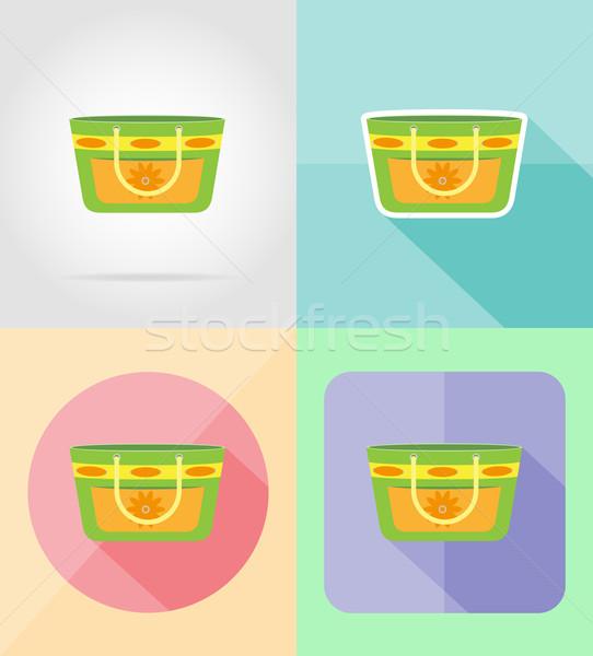 beach bag flat icons vector illustration Stock photo © konturvid