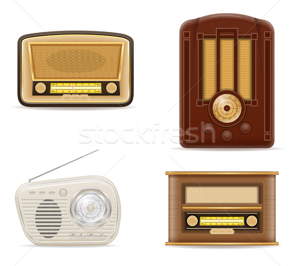 radio old retro vintage set icons stock vector illustration Stock photo © konturvid