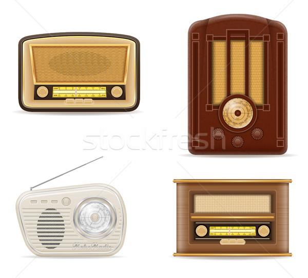 Radyo eski Retro bağbozumu ayarlamak simgeler Stok fotoğraf © konturvid