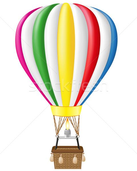 Hőlégballon izolált fehér forró kosár színek Stock fotó © konturvid