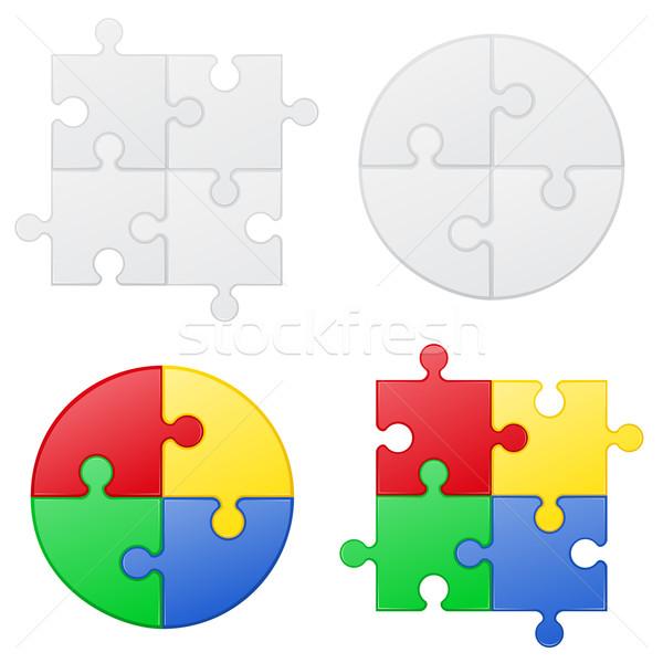 puzzle set icons vector illustration Stock photo © konturvid