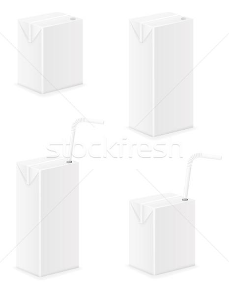 Photo stock: Blanche · paquet · jus · isolé · papier · boîte