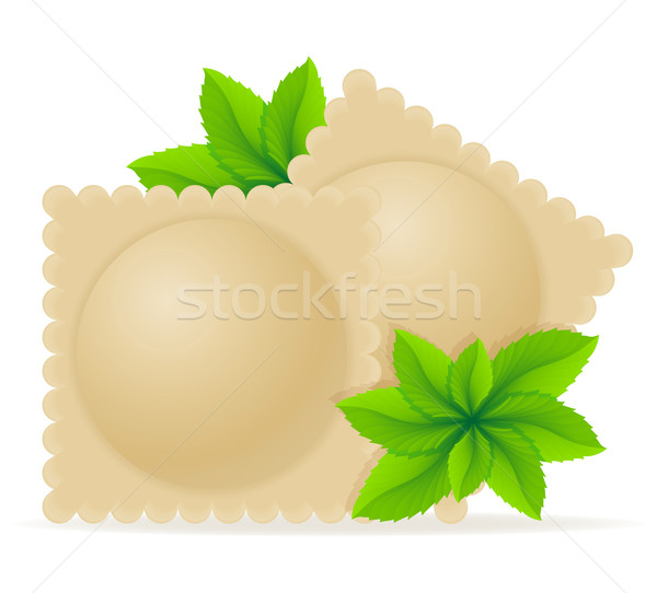 Ravioli tömés pázsit vektor izolált fehér Stock fotó © konturvid