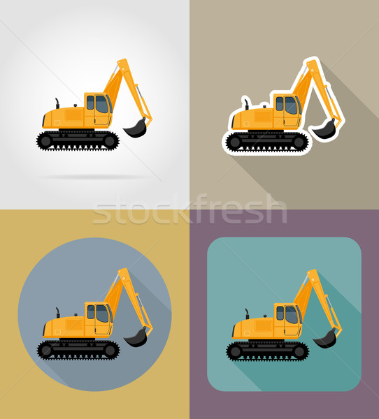 excavator for road works flat icons vector illustration Stock photo © konturvid