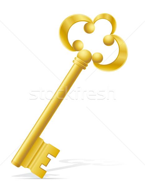 old retro key door lock vector illustration Stock photo © konturvid