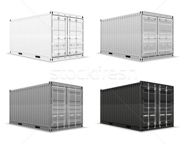 Carico contenitore isolato bianco auto sfondo Foto d'archivio © konturvid