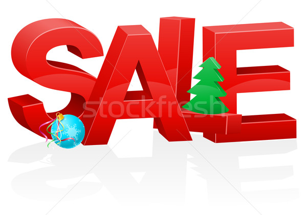 christmas and new year volumetric red inscription sale vector il Stock photo © konturvid